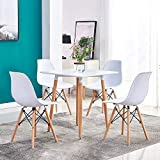 Redd Royal White Dining Table Set, Wooden Square Table and 4 Retro Eiffel Plastic Armless Chairs, 5 Pcs Mid Century Modern Kitchen Table Set for Small Space