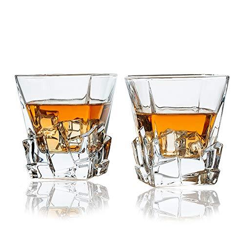 SkySnow® Bicchieri Whisky, Set di Bicchieri, Bicchieri in Vetro per Vino, Cocktail o Succhi, Bicchieri Tumbler Unici Perfetti per Miscelatori di Rum Baileys Vodka Gin, Set di 2