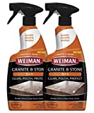Weiman Granite Cleaner Polish and Protect 3 in 1 - 2 Pack - Streak-Free, pH Neutral Formula for Daily Use on Interior and Exterior Natural Stone