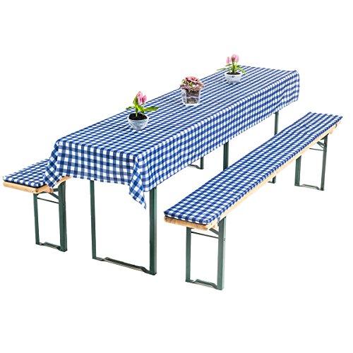 """Gräfenstayn® Annabelle Biertischauflagen-Set mit Sitzpolsterung 3 TLG Bierzeltgarnitur - Öko-Tex Siegel Standard 100:\""""Geprüftes Vertrauen (50x220cm, Blau/Weiß)"""