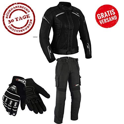 DAMEN MOTORRADKOMBI JACKE + HOSE + HANDSCHUHEN - BIKE MOTORRAD ROCKER TOURING (XS)