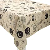 Amscan Spooks and Spells Halloween Fabric Tablecloth, Features Magic-Themed Illustrations, Measures 60 by 84 Inches