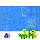 3D Printing Pen Silicone Design Mat with Patterns, Dikale 3D Printer Pens Drawing Tools, Large Size 16.4 x 10.9 inch, Blue