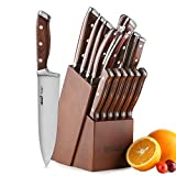 Knife Set,15-Piece Kitchen Knife Set with Block Wooden,Chef Knife Set with Sharpener,Germany High Carbon Stainless Steel Knife Block Set,Boxed Knife Sets,ROMEKER