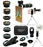 Kit Objectif Téléphone Portable,Téléobjectif Universel 11 en 1,Zoom 20x,Grand Angle+Macro+Fisheye+Téléobjectif 2x Kaléidoscope+CPL/Starlight/Eyemask/Trépied/Obturateur, For Plupart Smartphones.