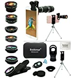 11 in 1 Phone Kit Obiettivo Fotocamera , Universale 20x Teleobiettivo Zoom, Grandangolare,Macro,Fisheye,2x...