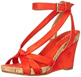 Aerosoles - Women's Fashion Plush Wedge Sandal - Open Toe Strap Platform Heel Shoe with Memory Foam Footbed (8.5M - Orange Fabric)