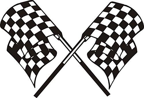 Pegatinas con diseño de bandera de carrera a cuadros, vinilo de 5 a 7 años