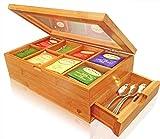 SOLID 100% BAMBOO Tea Box Natural...