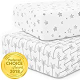 Crib Sheet Set 100% Jersey Cotton | 2-Pack | Fitted Cotton Baby & Toddler Universal Crib Sheets for Boy | Mattress Bedding Sets | White Baby Sheets | Nursery Accessories | Unisex