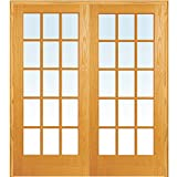 National Door Company ZZ19960BA Unfinished Pine Wood 15 Lite True Divided Clear Glass, Both Active Prehung Interior Double Door, 60' x 80'