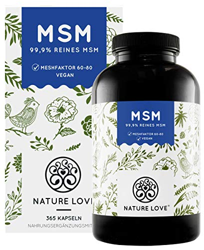 NATURE LOVE® MSM Kapseln - 365 Kapseln (6 Monate)....