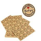 AONER ❤(300pcs) 25 Feuilles de Rond Thank You Autocollants avec Coeur Rouge - Handmade with Love & Especially for You Stickers Etiquettes pour Mariage Cadeau ou Enveloppe