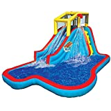 BANZAI Slide N Soak Splash Park Inflatable Outdoor Kids Water Park Play Center with Blower
