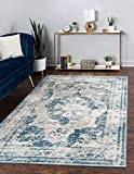 Unique Loom Sofia Collection Area Traditional Vintage Rug, French Inspired Perfect for All Home Décor, 9' 0 x 12' 0 Rectangular, Blue/Light Blue