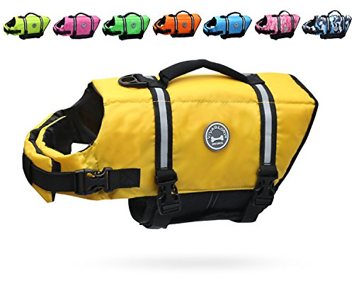 Vivaglory Ripstop & Reflective Dog Life Jacket, Life Vests with Enhanced Buoyancy & Rescue Handle for Swimming, Yellow, M