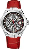 Stuhrling Original Mens Swiss Automatic Watch - Self Winding Mens Dress Watch Mens Red Leather Wrist Watch Mechanical Skeleton Watches for Men