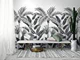 HXA DECO - Papier Peint Rouleau Palmeraie en Noir et Blanc - Rouleau 0,53x8,40 m