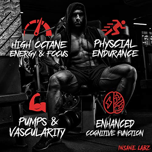 Insane Labz Psychotic Gold, High Stimulant Pre Workout Powder, Extreme Lasting Energy, Focus, Pumps and Endurance with Beta Alanine, DMAE Bitartrate, Citrulline, NO Booster, 35 Srvgs, Gummy Candy 2