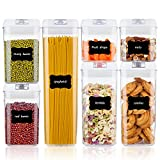 Airtight Food Storage Containers, Vtopmart 7 Pieces BPA Free Plastic Cereal Containers with Easy Lock Lids, for Kitchen Pantry Organization and Storage, Include 24 Labels