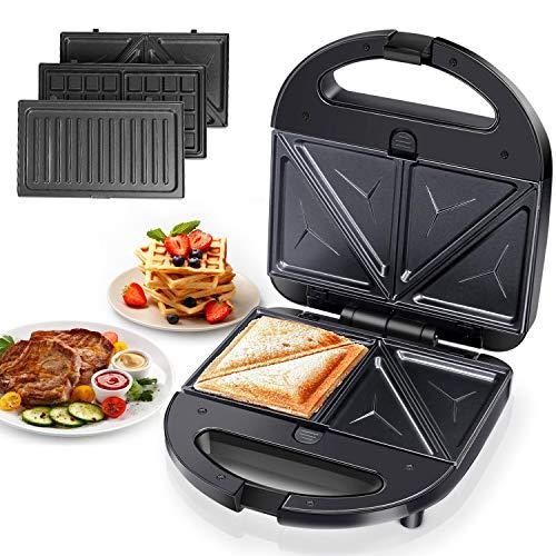 Aigostar Robin - piastre per panini 3 in 1, sandwich e waffle. 750 Watt, piastre antiaderenti...
