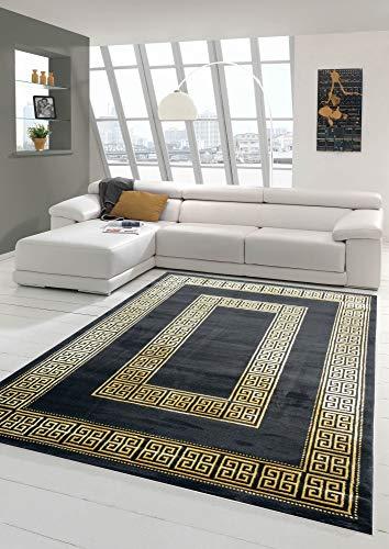 Teppich-Traum Tappeto con Bordo Classico in Oro Nero Größe 80x150 cm
