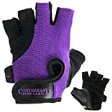 Contraband Pink Label 5057 Womens Basic Lifting Gloves (Pair) - Light-Medium Padded Durable Leather Palm Fingerless Classic Workout Gloves Designed & Sized for Women (Purple, Large)