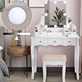 ENSTVER Vanity Set with Dimmer LED Light Bulbs,Makeup Table with Frameless Hollywood Mirror and Cushioned Stool,5 Drawers,Solid Wood Legs Dressing Table for Bedroom,White