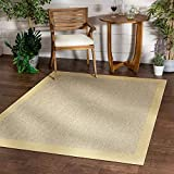 Well Woven Woden Bright Yellow Indoor/Outdoor Flat Weave Pile Solid Color Border Pattern Area Rug 8x10 (7'10' x 9'10')