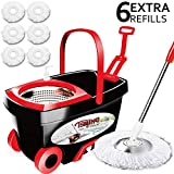 Tsmine Spin Mop & Bucket Floor Cleaning System, Stainless Steel Mop Bucket with Wringer on Wheels - 6 Mop Heads - 61' Handle, Floor Mop with Bucket for Professional Home Commercial Cleaning