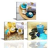 Piy 3X Impression Contemporain Zen sur Toile Spa Yoga Peinture en Bleu Bougie Pierre de médecine Tableaux Home Déco,Impermeable, Prête à Poser, Mur Art pour Cuisine Salle Bain Cadeau Noël Nouvel an