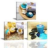 Piy 3X Impression Contemporain Zen sur Toile Spa Yoga Peinture en Bleu Bougie Pierre...