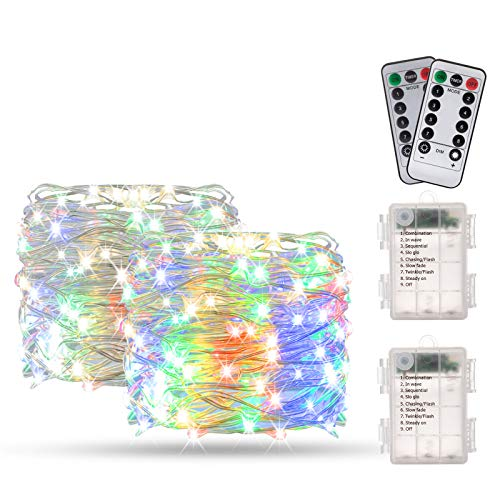 Catene Luminose, BAKTH Stringa Luci LED Impermeabile IP67 per interni/esterni/Natale/Matrimonio e camera da letto 8 Modalit(2 x 10M 100LED,Multicolore)