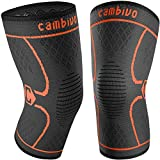 CAMBIVO 2 Pack Knee Brace, Knee Compression Sleeve Support for Men and Women, Running, Hiking, Arthritis, ACL, Meniscus Tear, Sports (Orange,Large)