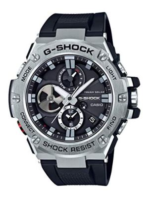 Casio Men's 'G-Steel by G-Shock' Quartz Solar Bluetooth Connected Resin Dress Watch, Color: Black (Model: GST-B100-1ACR)