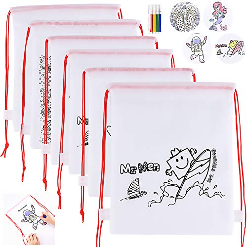 GOLDGE Gadget Compleanno Bambini 32 pezzi, 16 Zainetti da Colorare Bambini e 16 Set di 4 Pennarelli Colorati, Festa Compleanno Bambini Sacchetti Regalo