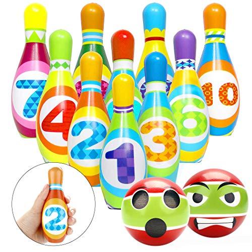 Joyibay Juego de Bolos para niños con 10 Bolos y 2 Bolas, J