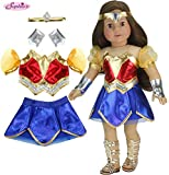 Sophia's 18 Inch Doll Super Hero Woman Costume, Fits American Girl Dolls & More! 18 Inch Doll Clothes Super Heroine Outfit with Accessories | Wonder Doll