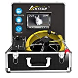 Sewer Pipe Inspection Camera, Anysun 30M/100ft Waterproof IP68 Plumbing Camera with DVR Recorder,...