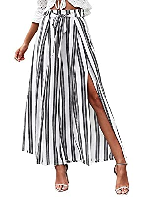 Viscose material,soft and cozy wear,breathe freely Elastic waist,tie up front for a fashion and chic look High split on side legs,wide cut flare feature,very cool when walking It has this season's hottest striped print,style casual nature,give more s...