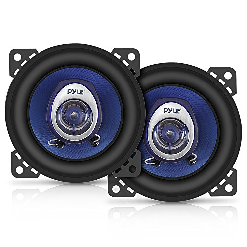 4' Car Sound Speaker (Pair) - Upgraded Blue Poly Injection Cone 2-Way 180 Watt Peak w/ Non-fatiguing...