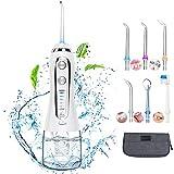 Irrigador Bucal Profesional Portátil con 6 Boquillas 5 Modos 300ML Irrigadores Dentales IPX7 Impermeable Limpieza Dental para Ortodoncia, Placa, Implantes Limpieza en Casa/Viaje