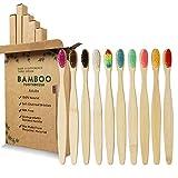 GeekerChip Lot de 10 Brosse à Dents de Bambou,10 couleurs brosse a dent bambou,Poils Doux Naturels,Écologiques Et Biodégradables