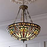 Ornamental Bronze Tiffany Pendant Chandelier 24' Wide Stained Glass Bowl 4-Light Fixture for Dining Room House Foyer Kitchen Island Entryway Bedroom Living Room - Robert Louis Tiffany