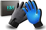 KENNELS & KATS New Version Pet Grooming Gloves, Premium Deshedding Glove for Easy, Mess-Free Grooming of Cats, Dogs, Rabbits and Horses with Long/Short/Curly Fur (Pair)