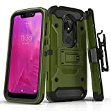 Phone Case for [T-Mobile REVVLRY (5.7 inch)], [Tank Series][Army Green] Shockproof Defender Heavy Duty Cover with Built-in Kickstand & Swivel Belt Clip Holster for T-Mobile REVVLRY (5.7 inch, 2019)