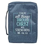 I Can Do all Things Philippians 4:13 Blue Canvas Bible Cover for Men and Women Large Zippered Case for Bible or Book w/Handle