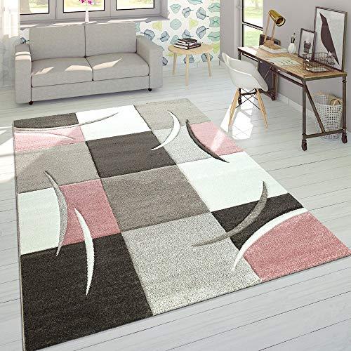 Designer Tappeto Moderno Taglio Sagomato Colori Pastello con Motivo A Quadri in Beige Rosa,...