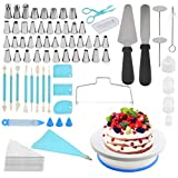 ATPWONZ Cake Decorating Supplies Kit, 170 Pcs Baking and Piping Set - Leveler, Turntable Stand, Piping Icing Sets, Pastry Bags, Spatulas, Smoother Scraper, Cupcake Decorating Tools for Beginner Adults