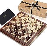 Jeu d'échecs Jaques - Ensemble Complet d'échecs Jaques sculptés à la Main avec Planche et Jeu d'échecs pliants